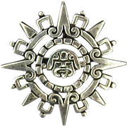 Taxco Mexican Aztec Sunstone Pin Brooch Pendant Sterling Silver