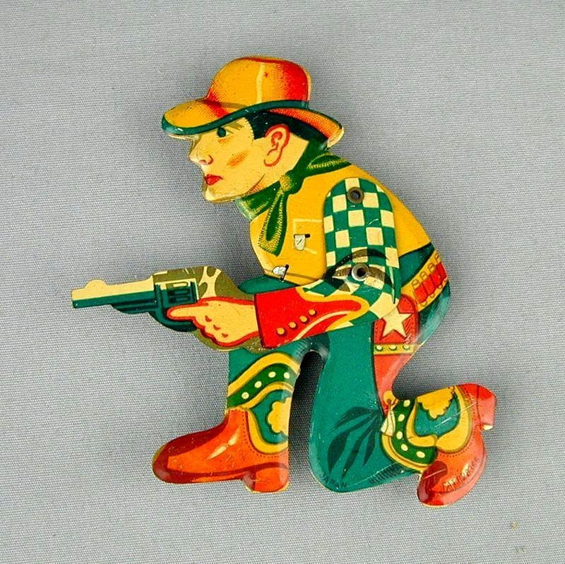 Old Rare 1940s SHOOTING COWBOY Tin Litho Mechanical Clicker
