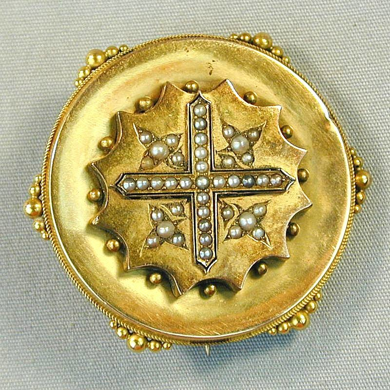 Victorian 14K Gold Pin Brooch w/ Secret Photo Locket Back
