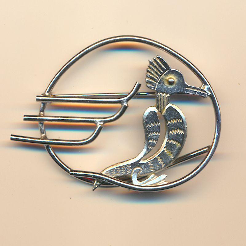 Vintage 1940s CORO Art Deco Stylized Bird Pin Brooch