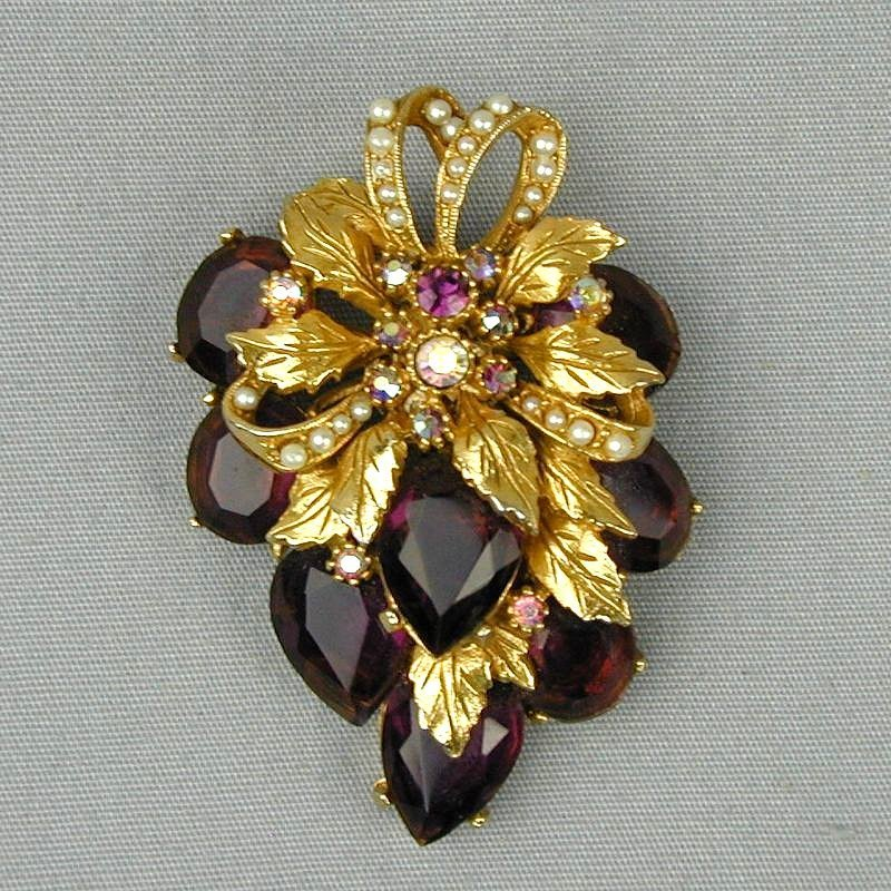 Vintage 1950s ART Rhinestone Pin Brooch - A Gorgeous Fruit Cluster