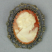 Vintage WELLS Sterling Silver Carved Shell Cameo Pin Pendant