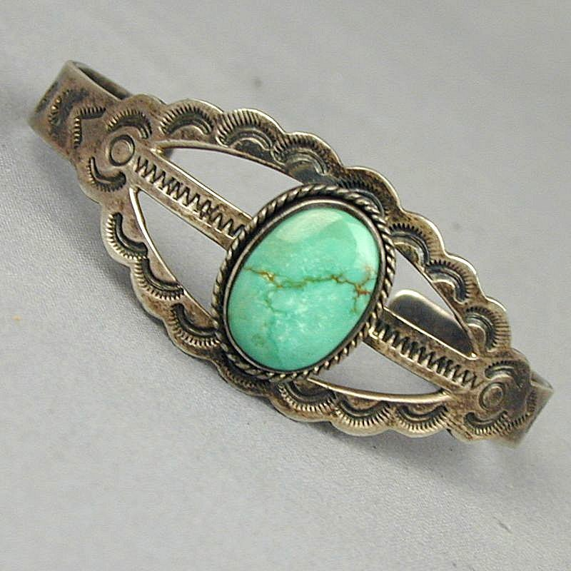 Old Taxco Sterling & Turquoise Cuff Bracelet Fred Harvey Style