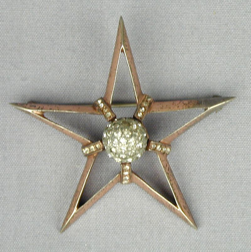 Vintage Nettie Rosenstein Sterling Rhinestone STAR Pin Brooch