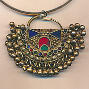 Big Turkmen Pendant Necklace Sterling Neck Band