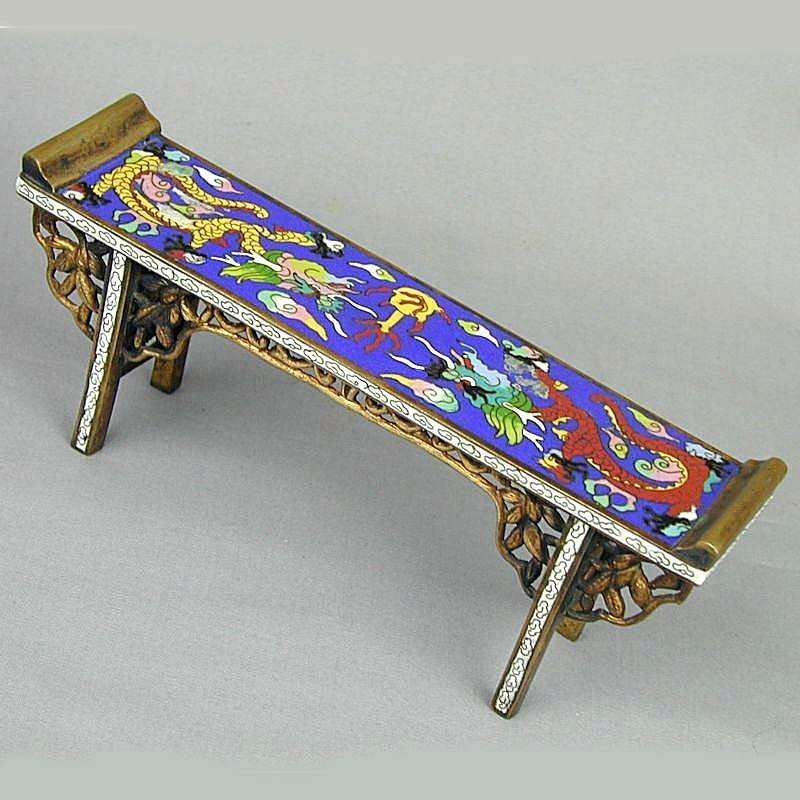 Antique Chinese Cloisonne Enamel Miniature Bench Stand