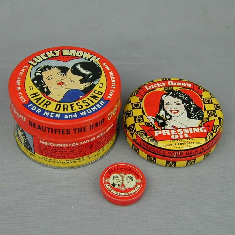 3 Old c1940 LUCKY BROWN Negro Hair Product Tins Set
