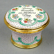 1990 Halcyon Days MOTHER'S DAY Enamel Pill Box Ltd. Ed.