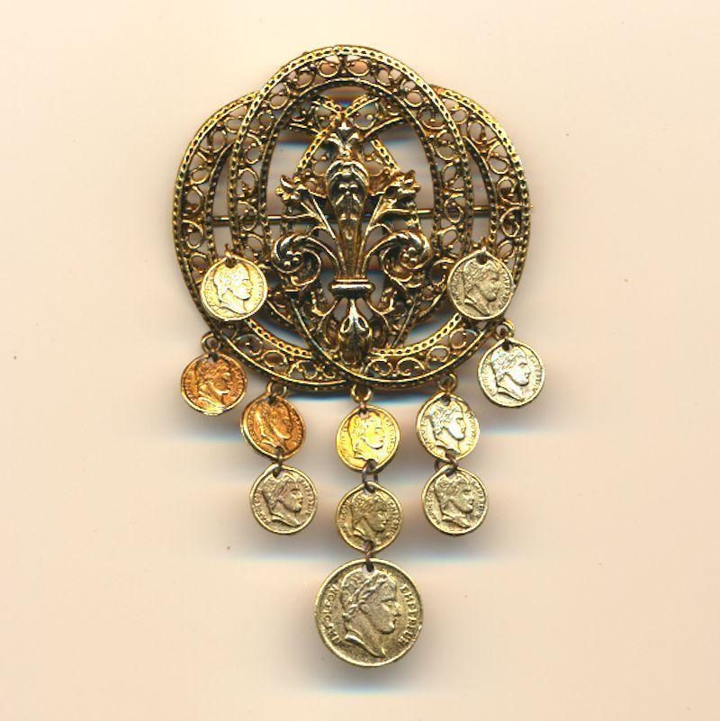 Vintage ART Florentine Gilt Coin Dangles Pin Brooch
