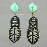 Mexican Sterling Silver & Turquoise Earrings Dangles Signed