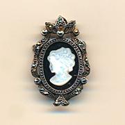 Pretty Sterling Silver Cameo Pin Pendant w/ Marcasite