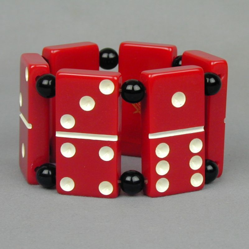 Vintage Big Red Lucite Domino Stretch Bracelet - Masonic