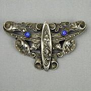 Art Nouveau Silvered Pin Brooch Signed C&R - Ornate Design