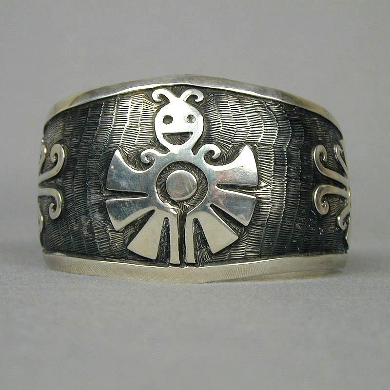 Happy Vintage Mexican Sterling Overlay Cuff Bracelet