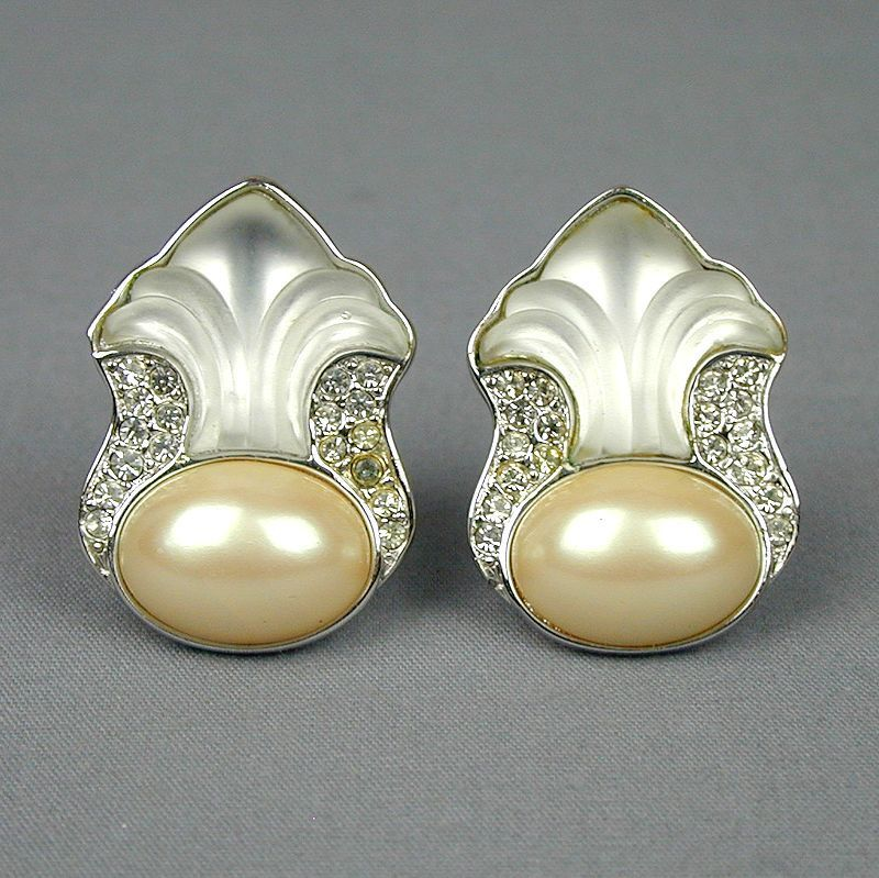 Yves Saint Laurent YSL Earrings Rhinestone Poured Glass Faux Pearl