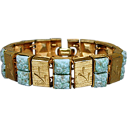 Unusual KRAMER Link Bracelet - Poured Glass & Faux Gold