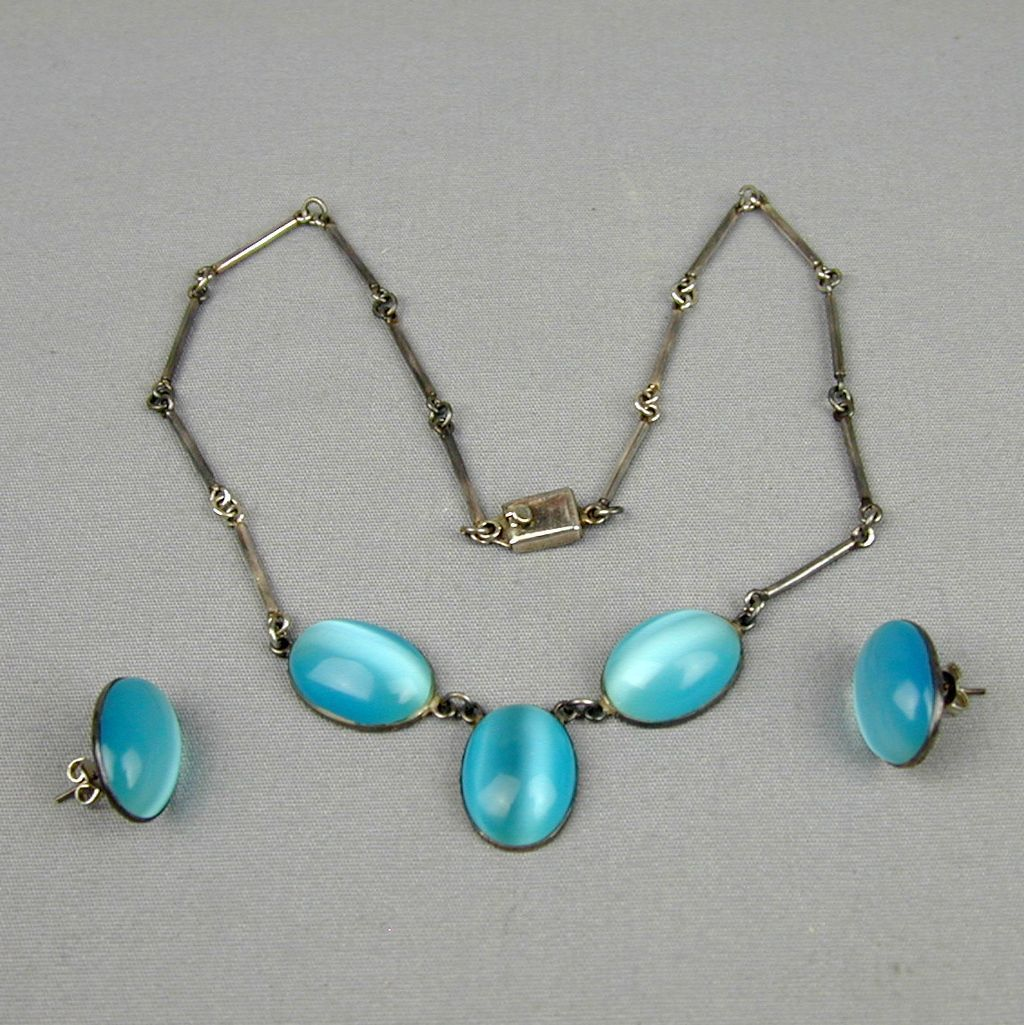 Vintage Mexican Blue Opal Sterling Silver Necklace Earrings Set