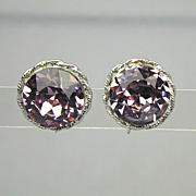 Vintage VOGUE Big Pink Headlight Rhinestone Earrings