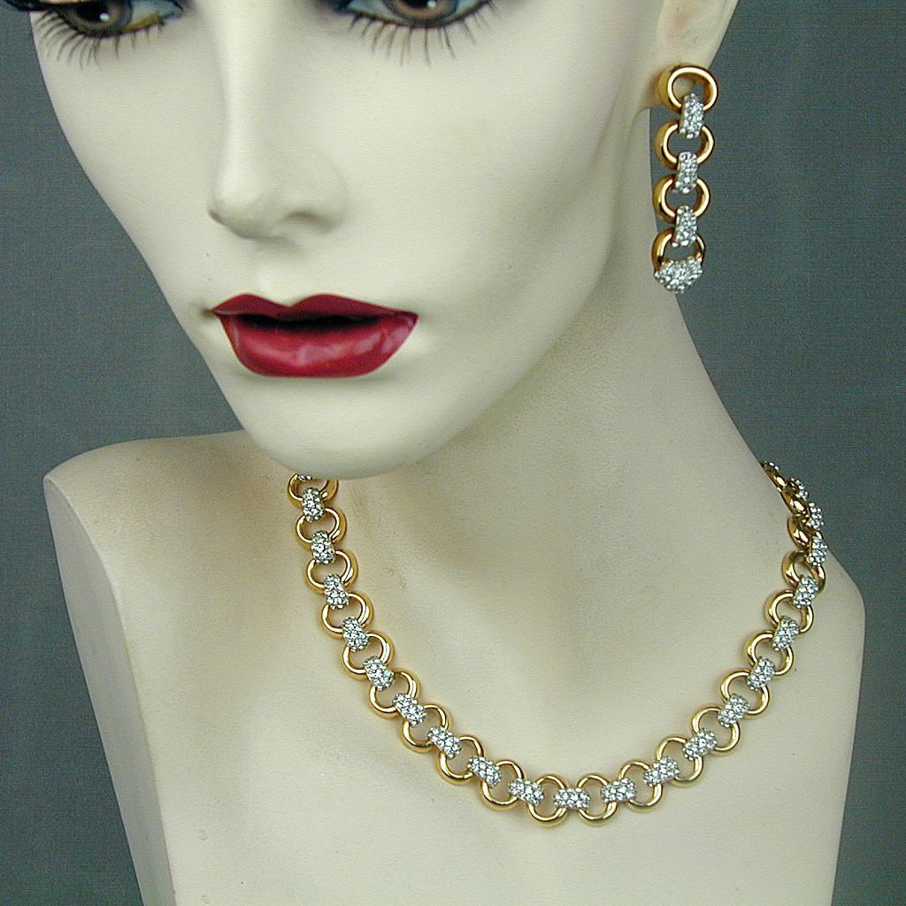 Swarovski Faux Gold & Diamonds Necklace Earrings Jewelry Set