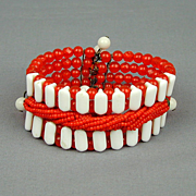 Vintage 1930s Glass Bead Wired Bracelet - A Toothy Grin