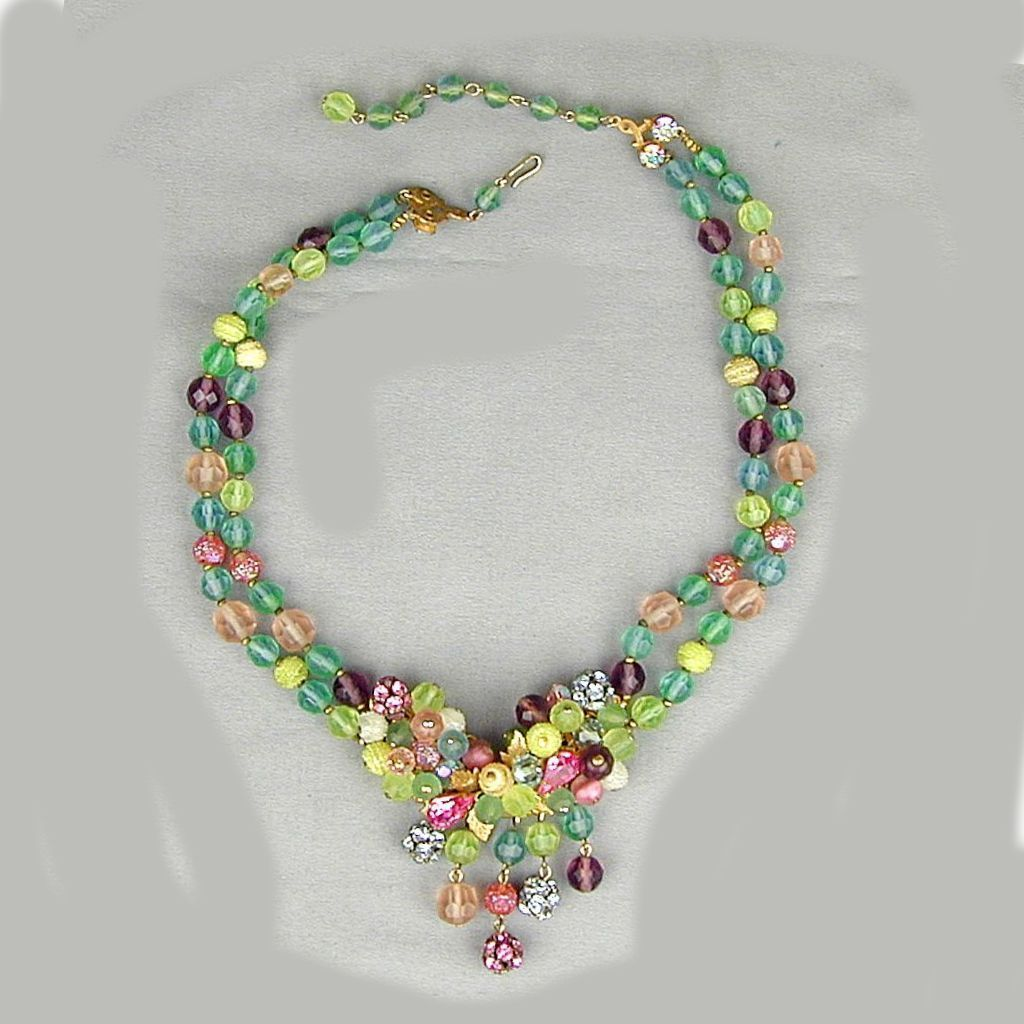 Signed 1950s JONNE Fruit Salad Necklace Glass & Rhinestones