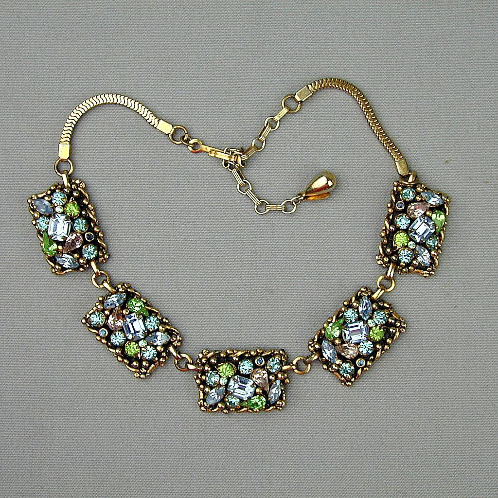 Gorgeous 1950s BARCLAY Rhinestone Necklace - Multi Colors