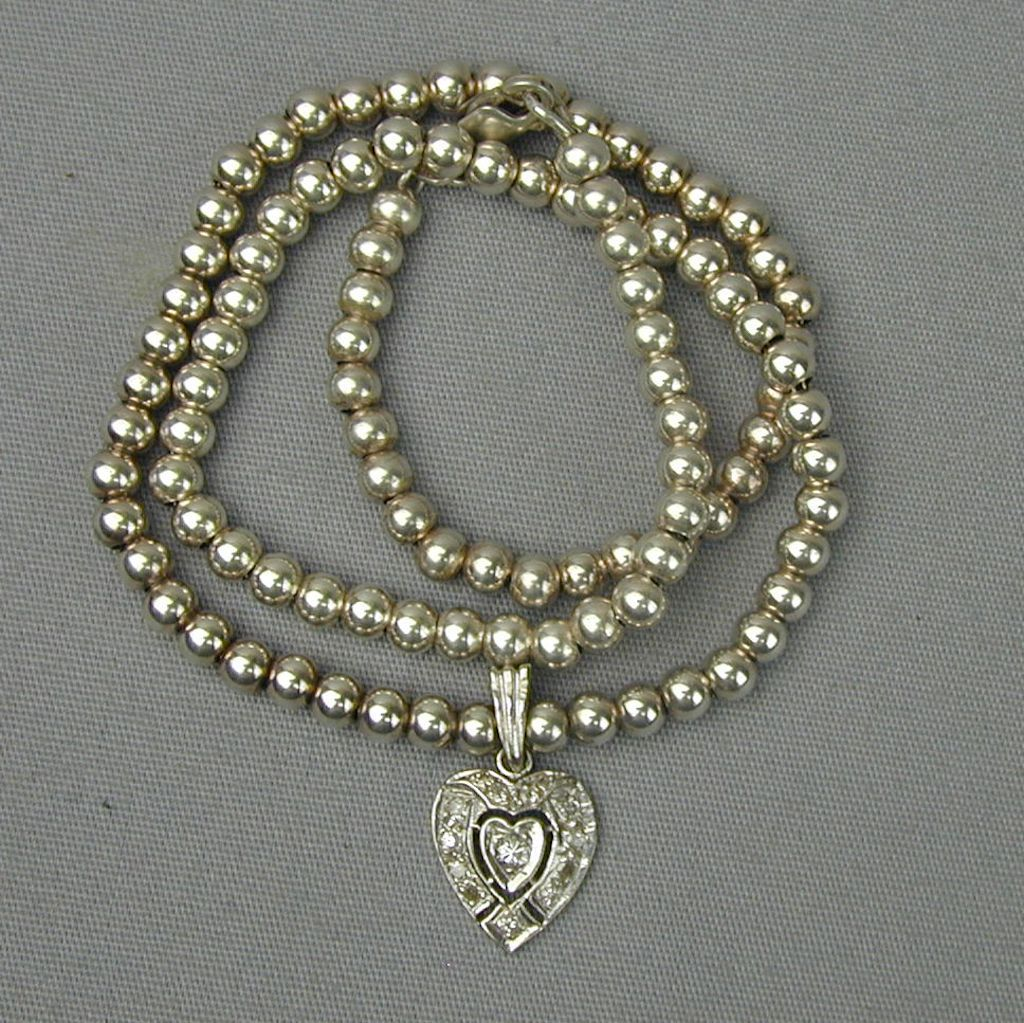 Sterling Silver Bead Necklace w/ 14K Gold Heart Diamond Pendant