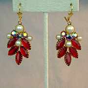 Vintage Red & AB Rhinestone Earrings w/ Faux Pearls