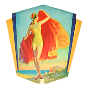 Rare 1931 Advertising Fan 7-Up Soda - Pin-Up Girl Litho - Bathing Beauty - Red Tag Sale Item