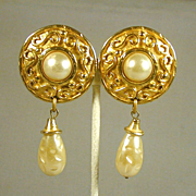 EDOUARD RAMBAUD Big Bold Faux Gold & Pearl Earrings
