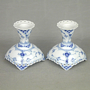 Pair Royal Copenhagen Blue Fluted Lace Candle Holders