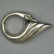 Modernist Heavy Sterling Silver Swan Buckle Gloria Vanderbilt