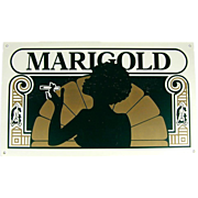 Vintage 1960s MARIGOLD Enamel Metal Sign Smoking Memorabilia
