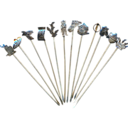 Set of 12 Mexican Sterling Silver Long Food Picks w/ Figurals