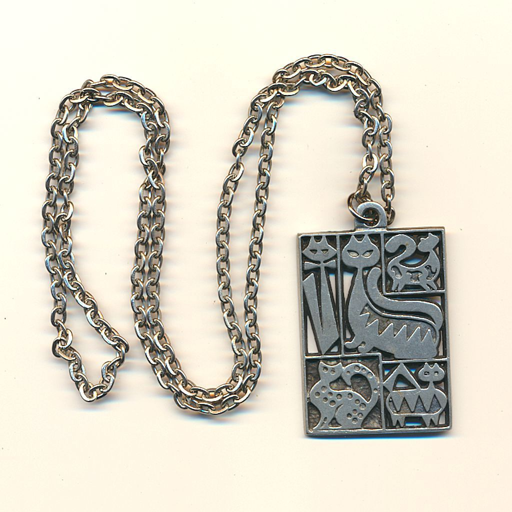 Modernist Sweden Pewter Cat Pendant Necklace