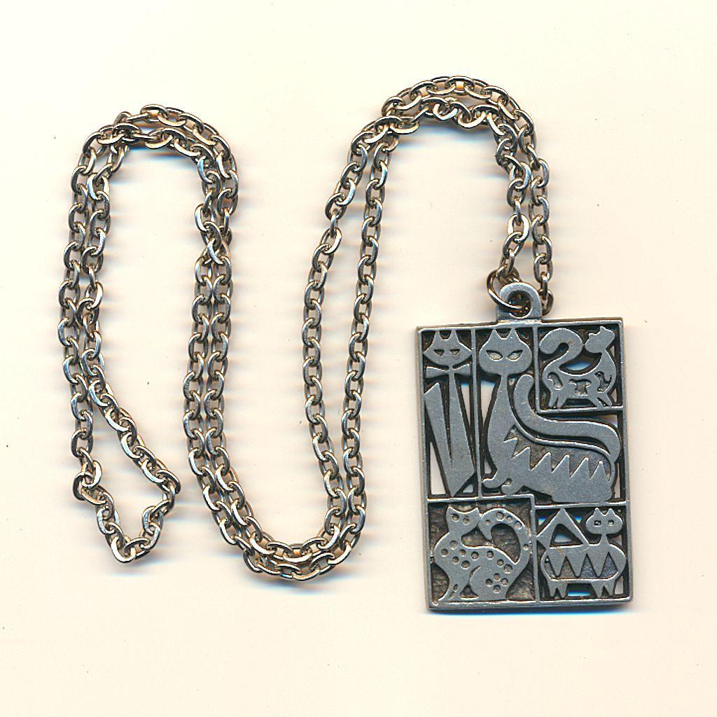 Modernist Sweden Pewter Cat Pendant Necklace