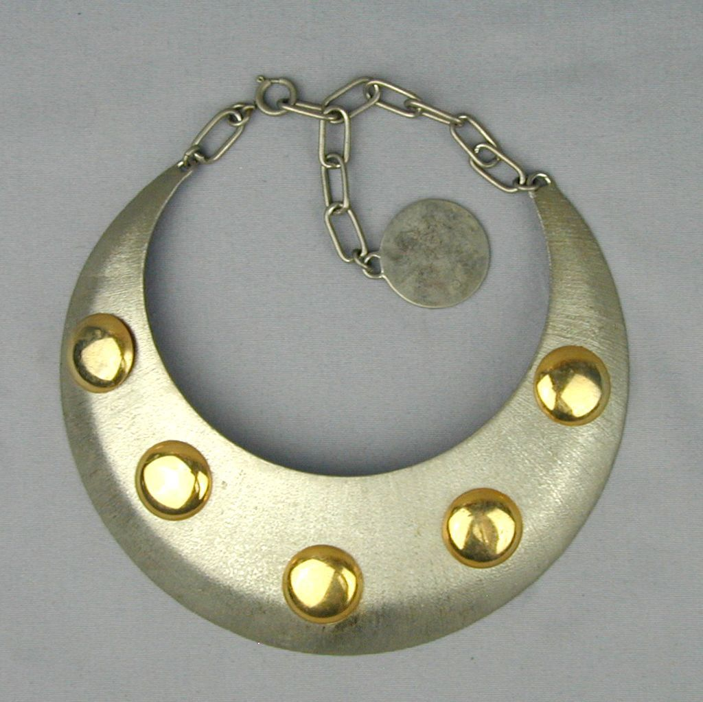 Vintage BIJOUX Wide Bold Mixed Metal Necklace Collar