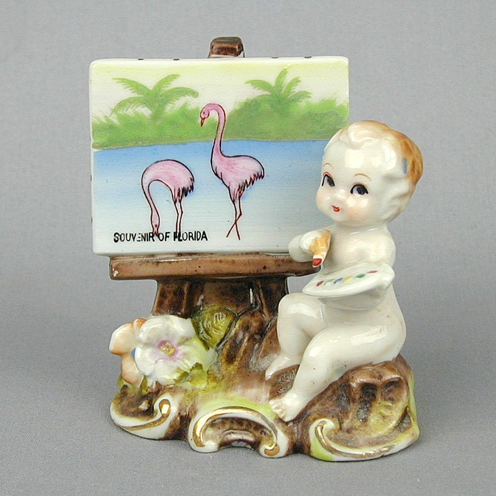 Vintage 1950s Angel Artist Painting Flamingos Japan Porcelain