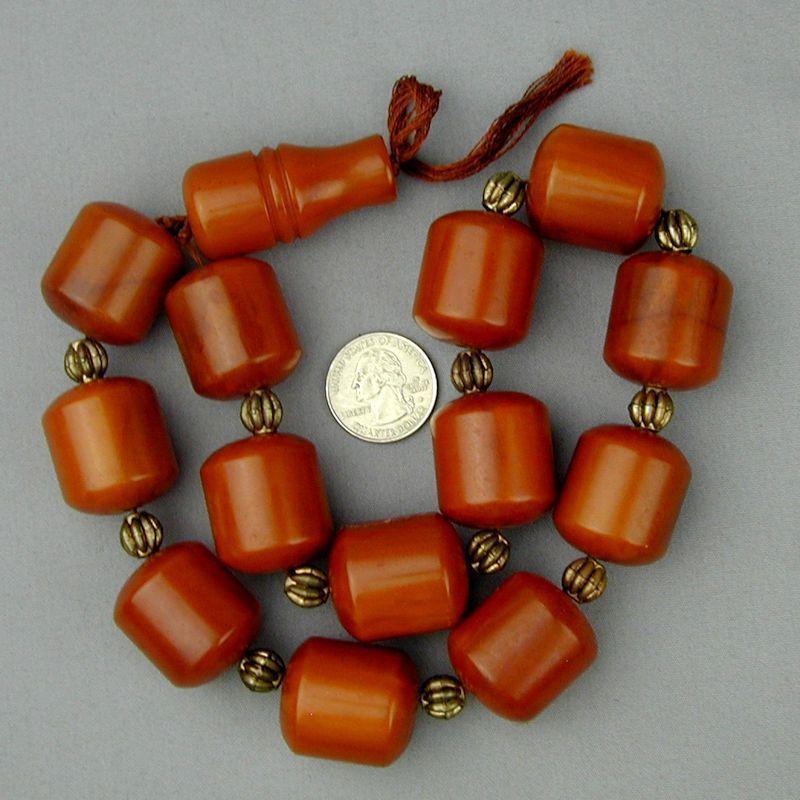 Huge Old Amber Bakelite Faturan Prayer Beads 220 Grams