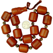 Huge Old Amber Bakelite Faturan Prayer Beads 220 Grams