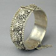 Heavy Sterling Silver Hinge Bracelet Ornate Handmade 1943