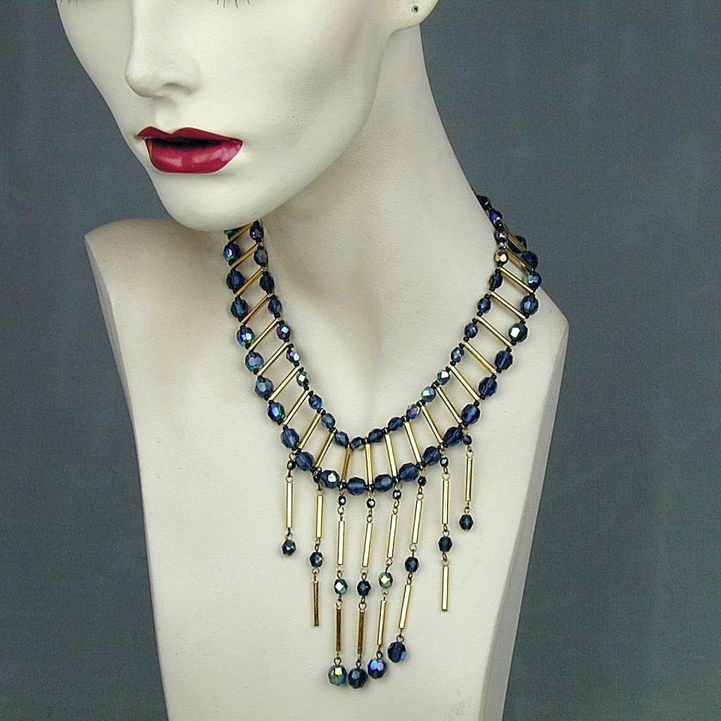 Toni Laura Italy Carnival Glass w/ Dangles Necklace Festoon
