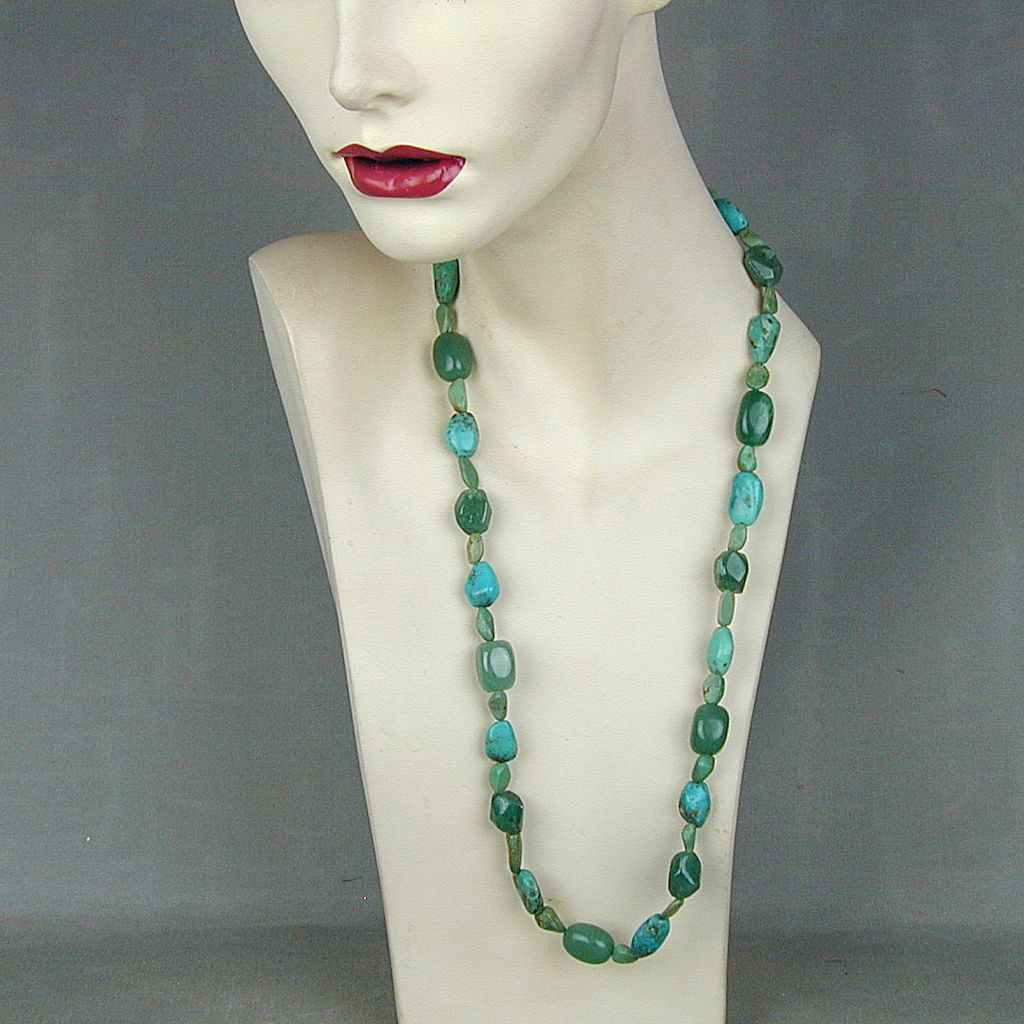 Turquoise & Aventurine Bead Necklace Blue Green Beauty