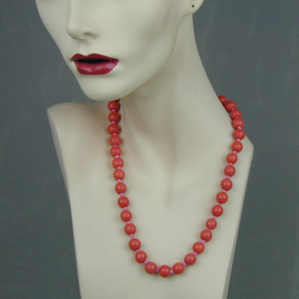 Vintage Chinese Coral Color Peking Glass Bead Necklace