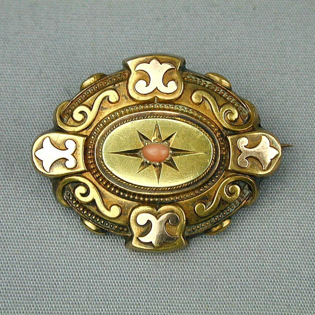 Antique 14K Gold Victorian Hair Photo Locket Pin Brooch