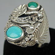 Vintage Navajo Dead Pawn Big Men's Ring Sterling - Turquoise