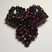Antique Victorian Bohemian Garnet Pin Brooch - January Birthstone