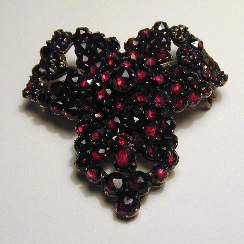 Antique Victorian Bohemian Garnet Pin Brooch