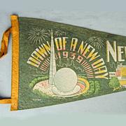 1939 New York World's Fair Felt Souvenir Pennant Art Deco