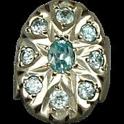 Big Sterling Silver Cocktail Ring w/ Aqua Blue Stones